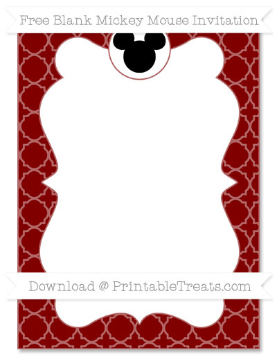 Free Maroon Quatrefoil Pattern Blank Mickey Mouse Invitation
