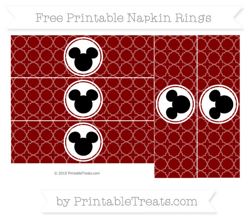 Free Maroon Quatrefoil Pattern Mickey Mouse Napkin Rings