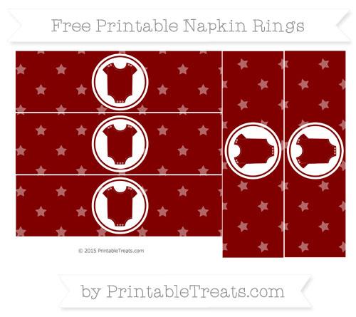 Free Maroon Star Pattern Baby Onesie Napkin Rings