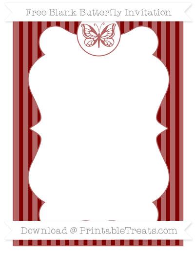 Free Maroon Thin Striped Pattern Blank Butterfly Invitation