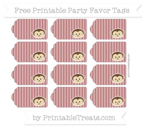Free Maroon Thin Striped Pattern Boy Monkey Party Favor Tags