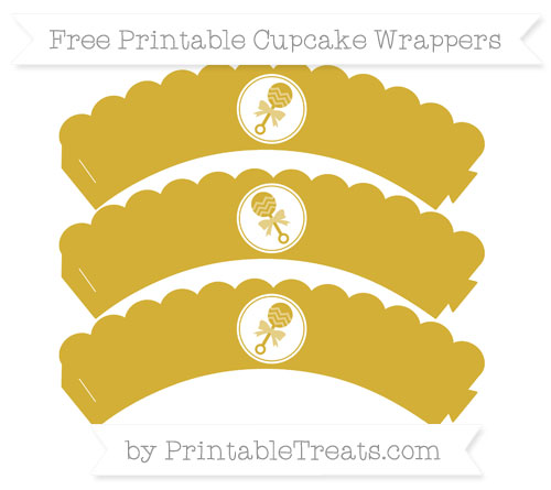 Free Metallic Gold Baby Rattle Scalloped Cupcake Wrappers