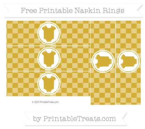 Free Metallic Gold Checker Pattern Baby Onesie Napkin Rings