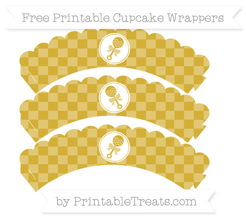 Free Metallic Gold Checker Pattern Baby Rattle Scalloped Cupcake Wrappers
