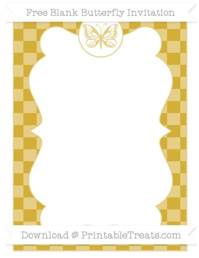 Free Metallic Gold Checker Pattern Blank Butterfly Invitation