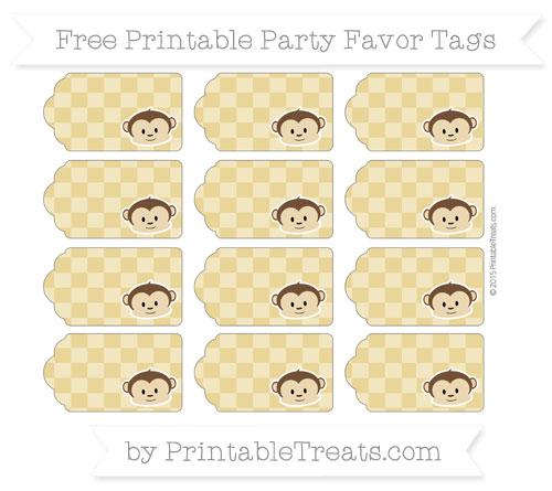 Free Metallic Gold Checker Pattern Boy Monkey Party Favor Tags