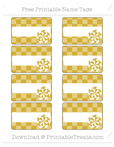 Free Metallic Gold Checker Pattern Cheer Pom Pom Tags