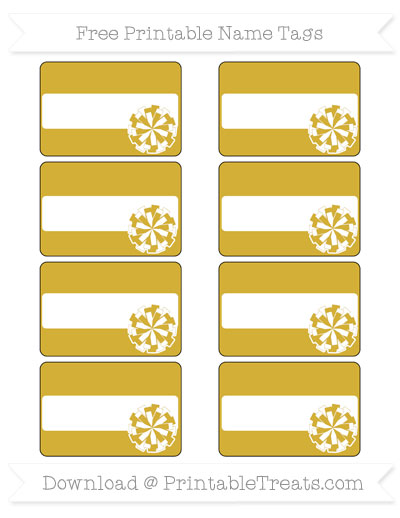 Free Metallic Gold Cheer Pom Pom Tags