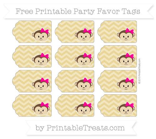 Free Metallic Gold Chevron Girl Monkey Party Favor Tags