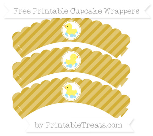 Free Metallic Gold Diagonal Striped Baby Duck Scalloped Cupcake Wrappers