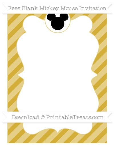 Free Metallic Gold Diagonal Striped Blank Mickey Mouse Invitation