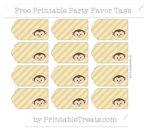 Free Metallic Gold Diagonal Striped Boy Monkey Party Favor Tags