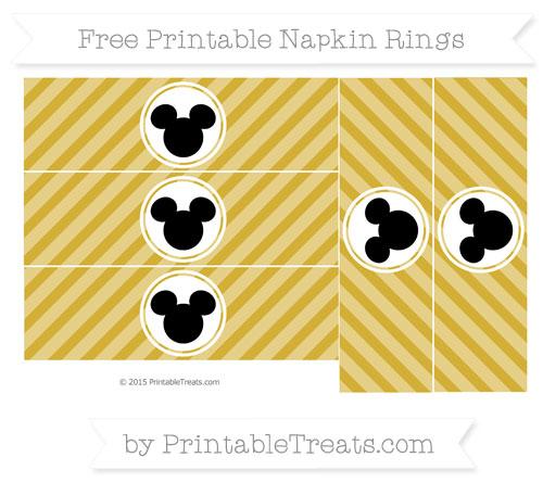 Free Metallic Gold Diagonal Striped Mickey Mouse Napkin Rings