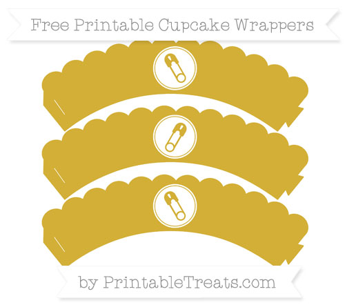 Free Metallic Gold Diaper Pin Scalloped Cupcake Wrappers