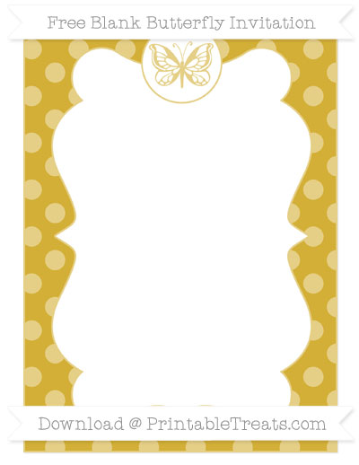 Free Metallic Gold Dotted Pattern Blank Butterfly Invitation