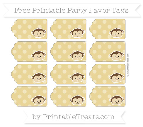 Free Metallic Gold Dotted Pattern Boy Monkey Party Favor Tags