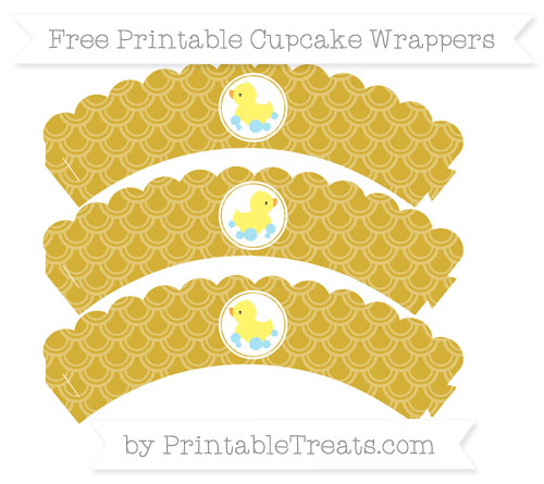 Free Metallic Gold Fish Scale Pattern Baby Duck Scalloped Cupcake Wrappers