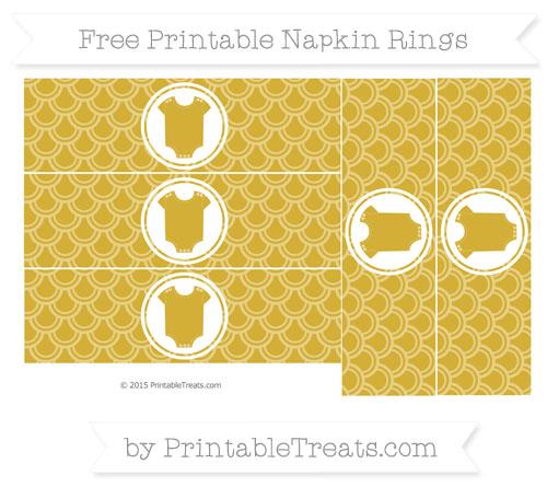 Free Metallic Gold Fish Scale Pattern Baby Onesie Napkin Rings