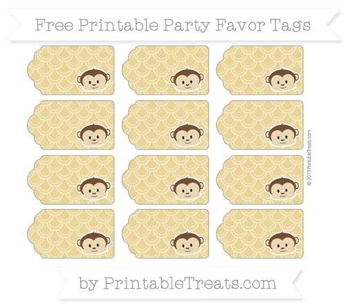 Free Metallic Gold Fish Scale Pattern Boy Monkey Party Favor Tags