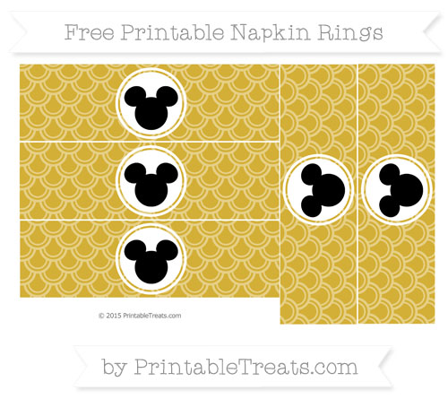 Free Metallic Gold Fish Scale Pattern Mickey Mouse Napkin Rings