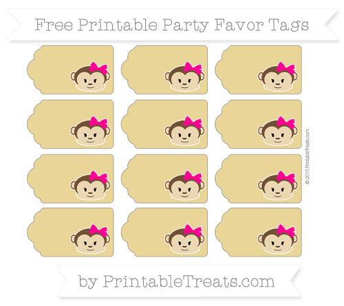 Free Metallic Gold Girl Monkey Party Favor Tags