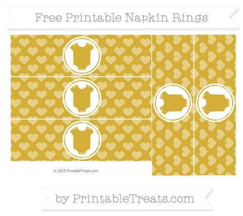 Free Metallic Gold Heart Pattern Baby Onesie Napkin Rings