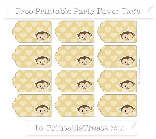 Free Metallic Gold Heart Pattern Boy Monkey Party Favor Tags