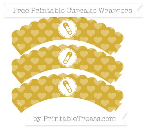 Free Metallic Gold Heart Pattern Diaper Pin Scalloped Cupcake Wrappers