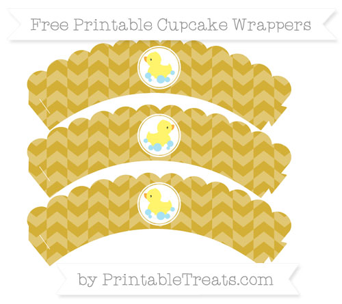 Free Metallic Gold Herringbone Pattern Baby Duck Scalloped Cupcake Wrappers