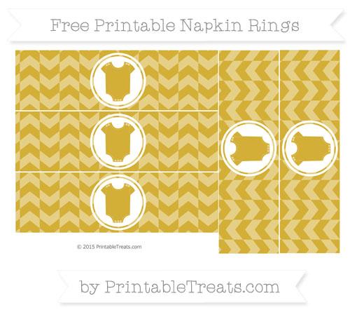 Free Metallic Gold Herringbone Pattern Baby Onesie Napkin Rings