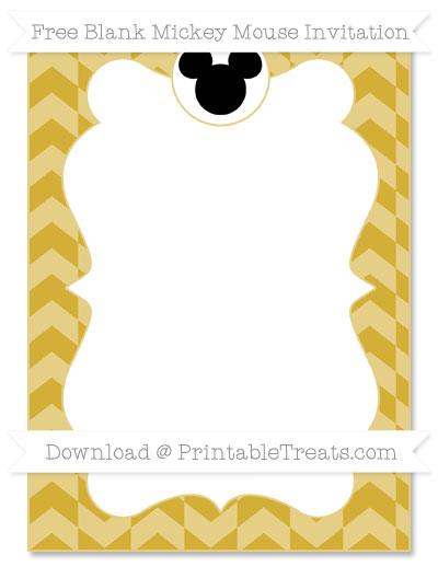 Free Metallic Gold Herringbone Pattern Blank Mickey Mouse Invitation