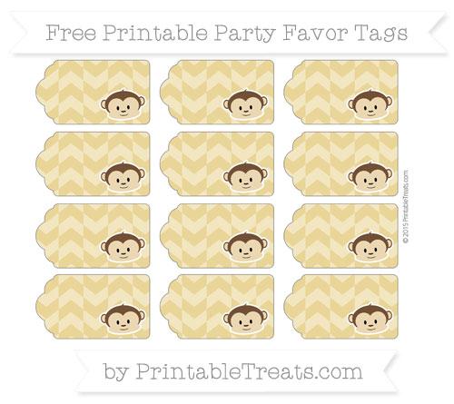 Free Metallic Gold Herringbone Pattern Boy Monkey Party Favor Tags