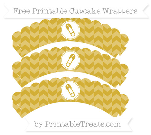 Free Metallic Gold Herringbone Pattern Diaper Pin Scalloped Cupcake Wrappers