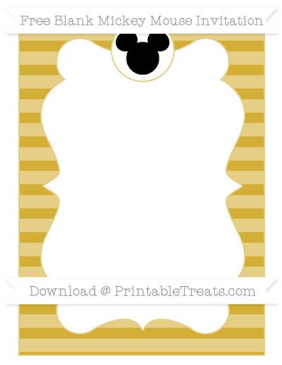 Free Metallic Gold Horizontal Striped Blank Mickey Mouse Invitation