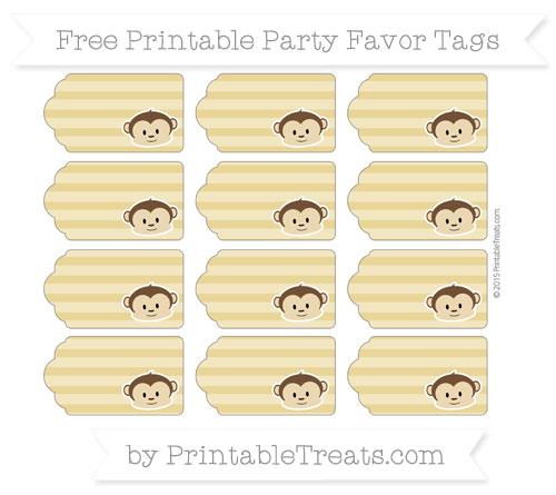 Free Metallic Gold Horizontal Striped Boy Monkey Party Favor Tags