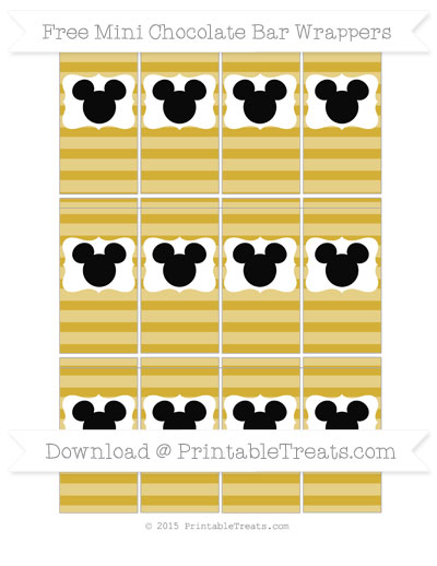 Free Metallic Gold Horizontal Striped Mickey Mouse Mini Chocolate Bar Wrappers