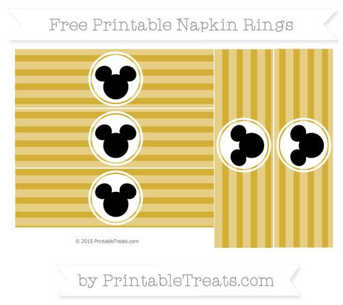 Free Metallic Gold Horizontal Striped Mickey Mouse Napkin Rings