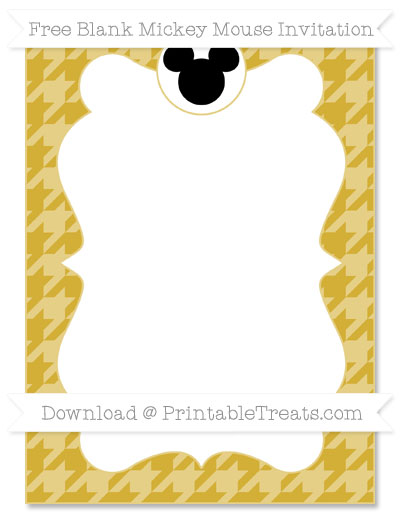 Free Metallic Gold Houndstooth Pattern Blank Mickey Mouse Invitation