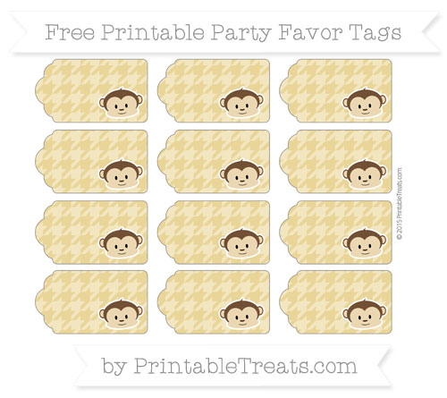 Free Metallic Gold Houndstooth Pattern Boy Monkey Party Favor Tags