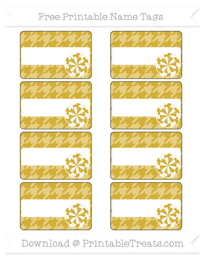 Free Metallic Gold Houndstooth Pattern Cheer Pom Pom Tags