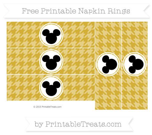 Free Metallic Gold Herringbone Pattern Mickey Mouse Napkin Rings