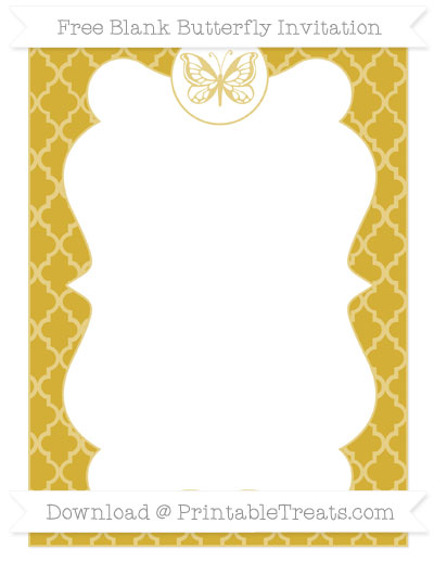 Free Metallic Gold Moroccan Tile Blank Butterfly Invitation