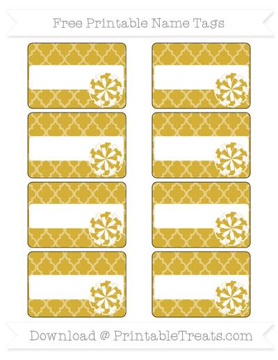 Free Metallic Gold Moroccan Tile Cheer Pom Pom Tags