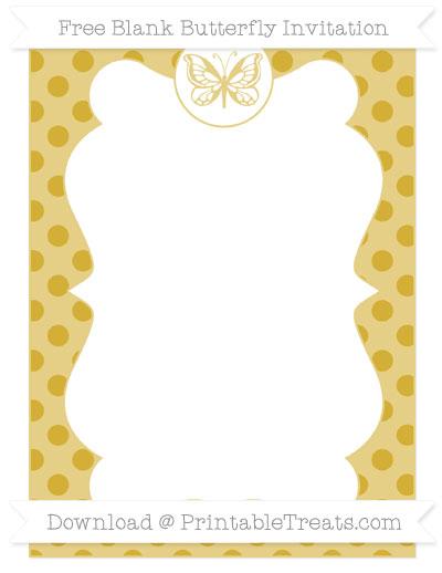 Free Metallic Gold Polka Dot Blank Butterfly Invitation