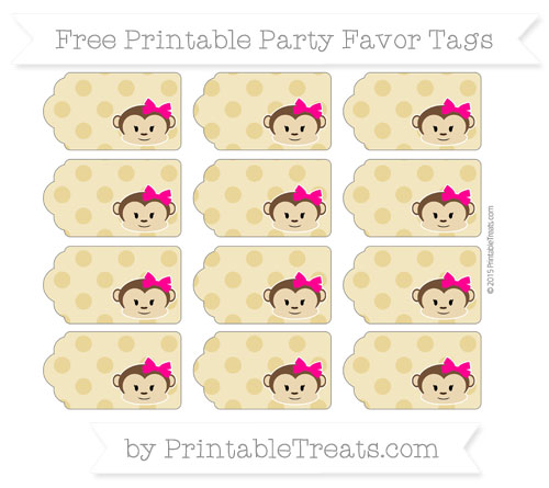 Free Metallic Gold Polka Dot Girl Monkey Party Favor Tags