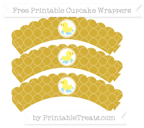 Free Metallic Gold Quatrefoil Pattern Baby Duck Scalloped Cupcake Wrappers