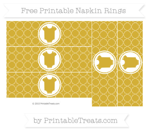 Free Metallic Gold Quatrefoil Pattern Baby Onesie Napkin Rings