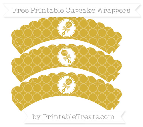 Free Metallic Gold Quatrefoil Pattern Baby Rattle Scalloped Cupcake Wrappers