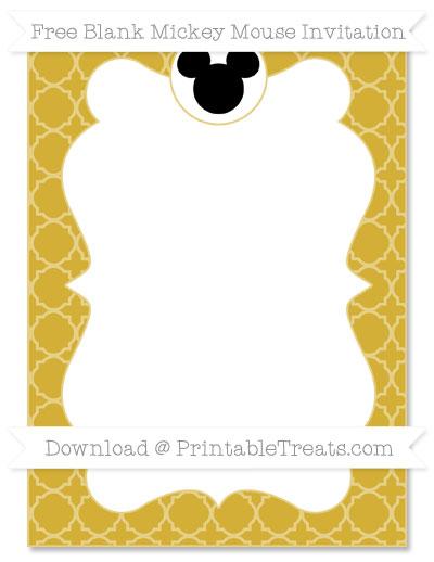 Free Metallic Gold Quatrefoil Pattern Blank Mickey Mouse Invitation