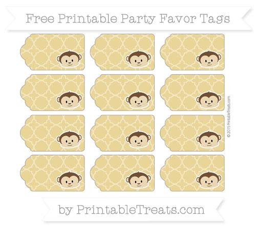 Free Metallic Gold Quatrefoil Pattern Boy Monkey Party Favor Tags